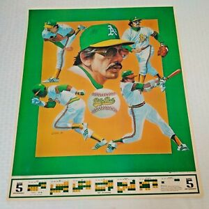 Vintage 1981 BILLY BALL MARTIN 17x22 Poster MLB Baseball Schedule A's Athletics