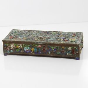 ANTIQUE CHINESE COPPER AND ENAMEL INCENSE BOX