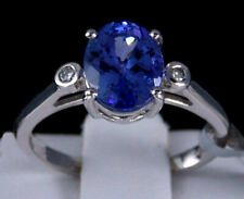 14k White Gold Solitaire Tanzanite Ring With Diamonds Size 8