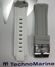 Authentic TechnoMarine Gray with White Interior Strap Silver Buckle for 45mm