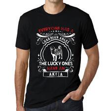 Hombre Camiseta T-Shirt Akita Dog Negro Profundo