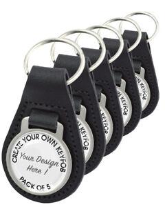 Design Your Own Keyring -  Set of 5 Black Leather Keyrings (One image only)