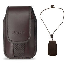 Around the neck Brown hanging case and lanyard fit Samsung Gusto 3