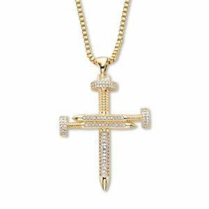 """Men's Goldtone Round Crystal Nail Cross Pendant With Chain 24"""" Length"""