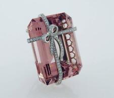 Featuring Large Soft Pink Silk Rectangular-Cut 100.0CT Morganite Ribbon Brooch