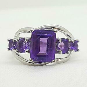 World Class 4.10ctw Amethyst Emerald & Round Cut 925 Sterling Silver Ring Size 7