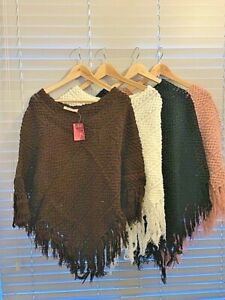 New Ladies Women's Cable Knitted Poncho Sweater Jumper Top UK one Size Fits All