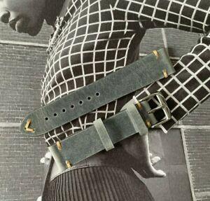 Bracelet montre cuir Gris vintage / retro 18 / 19 / 20mm - Boucle acier NEUF