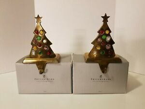 2 Vtg. Pottery Barn Brass Jeweled Christmas Tree Mantel Stocking Candle Holders