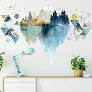 Removable Wall Stickers Geometric Nordic Forest Landscaping Vinyl Decal DIY AU