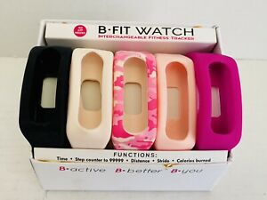 B-Active Interchangeable Watch Fitness Tracker 5 Bands No Apps Needed New In Box