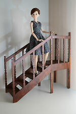 Stair with Handrail 1:6 Barbie FR Furniture for Dolls Handmade HQ Diorama V2