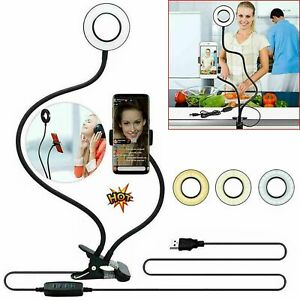 Selfie Ring Holder Phone Stand Grip Rotating Light Finger For Mobile With Flash