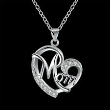 Fashion 925Sterling Solid Silver Jewelry Crystal Mom Pendants Necklace N849