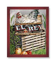 Country Farm Chicken Wood Box Nest Folk Wall Picture Cherry Framed Art Print