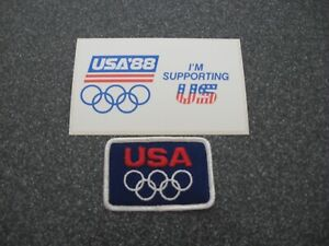 RED WHITE & BLUE OLYMPICS PATCH & 1988 USA'88 I'M SUPPORTING US Bumper Sticker