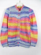 Girls Hand Knit Chunky Mums Handmade Striped Wool Blend Cardigan Vtg Retro BJ82