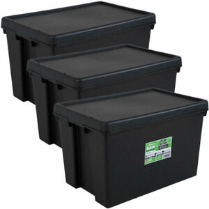 Wham Bam Heavy Duty Plastic Storage Box Boxes With Lids Recycled Plastic UK 45Lt