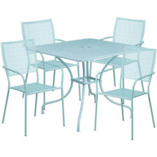 35.5'' Square Sky Blue Indoor-Outdoor Steel Patio Table Set with 4 Square Bac.
