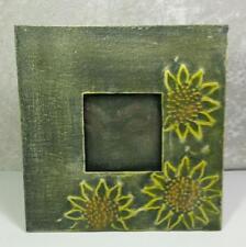 "Rustic Metal Frame Photo Size 3"" x 3"" Sunflowers Green Farmhouse Cottage Garden"