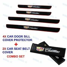 NEW Black Rubber Car Door Scuff Sill Panel Step Protector COMBO SET For Cadillac