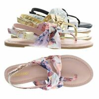 Yolo24s Women Flat Thong Sandal W Metallic & Print Fabric In Sling back Strap