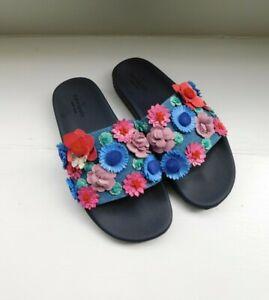 Kate Spade 7M Skye Floral Embellished Denim Slide Pool Sandals