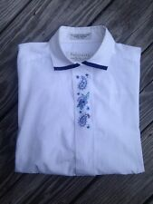 Womans Northern Isles White Embroidered Long Sleeved Tailored Blouse Shirt Sz 8