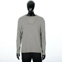 CELINE HOMME 690$ Long Sleeve Cotton Striped Crew Mock Neck Tshirt