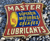 VINTAGE MASTER LUBRICANTS PORCELAIN METAL SIGN GREASE OIL GAS STATION PETROLIANA