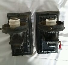 Pair Architectural Salvage Cast Iron Gothic Wall Sconces Light Fixtures SPOOKY
