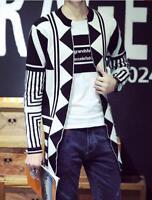 Men's Knit Sweater Long Slim Fit Open Cardigan Top M-XXL Coat Pattern Korean