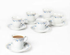 12pc COFFEE SERVICE Cappuccino CUPS SAUCERS Tea Cup Set PORCELAIN Ceramic FLORAL