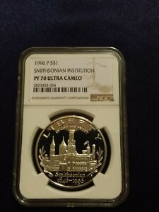 1996 P Smithsonian Institution $1 Silver Coin NGC PF 70 UCAM [low pop-89]