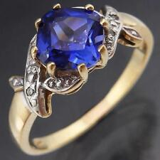 Floral Sprigs Cushion Cut Blue SAPPHIRE 9k GOLD DIAMOND Right Hand RING Sz O1/2