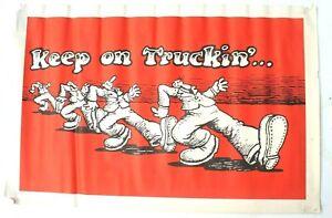 "Vintage R. Crumb 1960s Animation ""Keep on Truckin"" BLACK LIGHT POSTER"