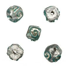 Transparent Spiral Teal Cube Handmade Indian Glass Beads 10mm Pack of 5 (A84/13)
