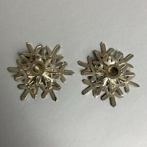Crate & Barrel Silver Metal Snowflake Shaped Candle Holder Pair/Set Christmas