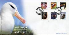 South Georgia & S Sandwich Isl 2015 FDC Biodiversity 6v Set Cover Penguins Seals