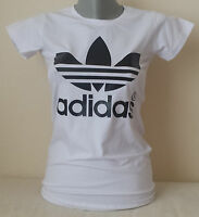 Brand New Women White T-Shirt Adidas Black Logo S/M/L/XL no Tag Free Shipping