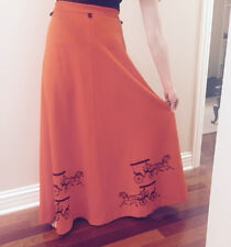 Rare Vintage The Vested Gentress Maxi Skirt Orange w/Hand Screened Print Size 12