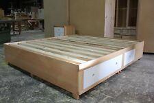 """""""Ken""""   Hardwood Tassie Oak Queen Bed With Drawers"""