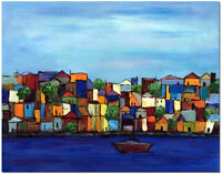Buildings by River - Hand Painted Modern Landscape Oil Painting Art On Canvas