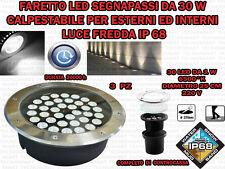 3 FARI INCASSO LED 30W ESTERNO LUCE FREDDA SEGNAPASSO CALPESTABILE IP68 GIARDINO