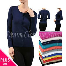 Plus Size Solid Women Long Sleeve Crew Neck Cardigan Sweater Blouse Top 1X 2X 3X