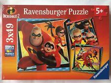 Brand New Ravensburger 3x49 Large Piece Jigsaw Puzzles- DISNEY PIXAR INCREDIBLES