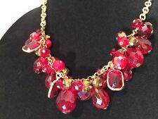Charter Club Gold-Tone Red Stone Cluster Necklace