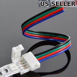 50-pack 10mm Solderless 4-Wire Connector Clip for 5050 RGB LED Strip Light Power