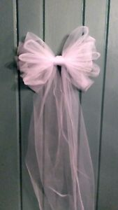 8  Pc Wedding  White Tulle Pew Bows OR ANY COLOR  RUSH ORDERS AVAIL