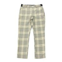 H&M Plaid Print Ankle Pants Size 10 Womens Cream Beige Black Career Trousers L